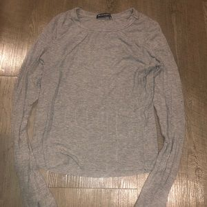 Brandy Melville ribbed long sleeve gray